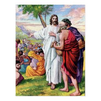 Jesus Feeding Many Hungry People Postcard