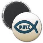 Jesus Fish 2 Inch Round Magnet