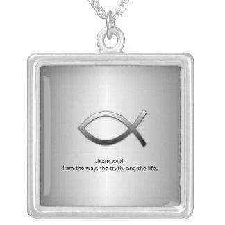 Jesus Fish Christian Ichthys Custom Scripture Necklace