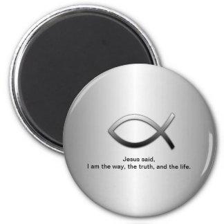 Jesus Fish Christian Scripture John 14:6 2 Inch Round Magnet