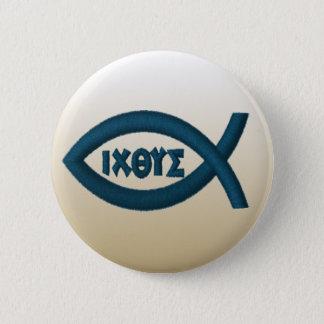 Jesus Fish Christian Symbol Button