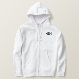 Jesus Fish Christian Symbol Embroidered Hoodie
