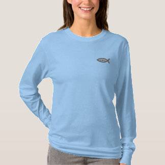 Jesus Fish Christian Symbol Embroidered Long Sleeve T-Shirt