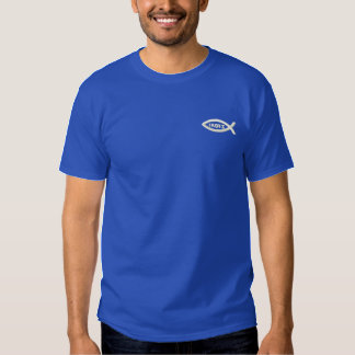 Jesus Fish Christian Symbol Embroidered T-Shirt