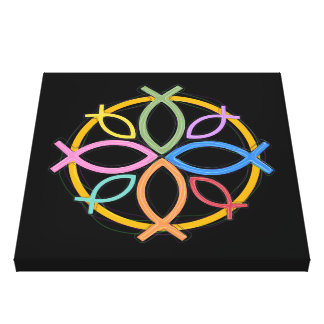 JESUS FISH CIRCLE DESIGN CANVAS PRINT