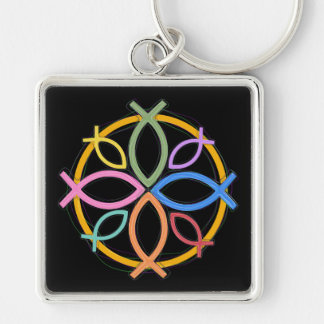 JESUS FISH CIRCLE DESIGN KEYCHAIN