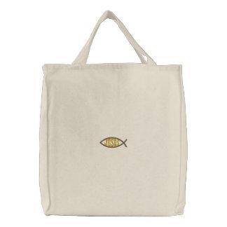 Jesus Fish Embroidered Bag