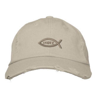 Jesus Fish Embroidered Baseball Cap
