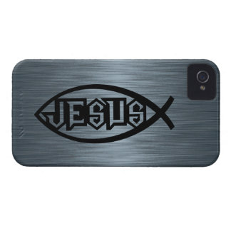 Jesus Fish Ichthys Fish Metallic Look Case-Mate iPhone 4 Case