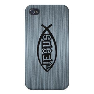 Jesus Fish Ichthys Fish Metallic Look iPhone 4 Covers