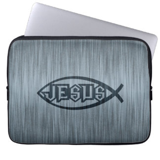 Jesus Fish Ichthys Fish Metallic Look Laptop Sleeve