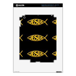 JESUS FISH ICHTHYS GOLD AND BLACK iPad 3 DECALS
