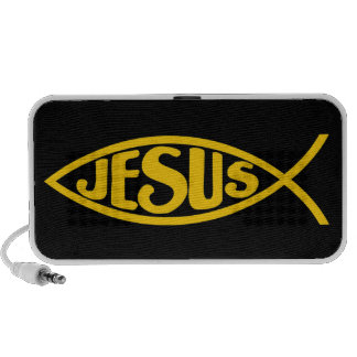 JESUS FISH ICHTHYS GOLD AND BLACK PORTABLE SPEAKER