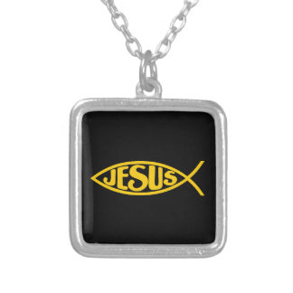 JESUS FISH ICHTHYS GOLD AND BLACK SILVER PLATED NECKLACE