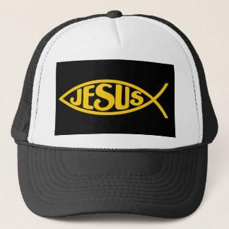 JESUS FISH ICHTHYS GOLD AND BLACK TRUCKER HAT