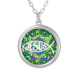 JESUS FISH ICHTHYS GREEN STAINED GLASS WINDOW SILVER PLATED NECKLACE