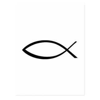 Jesus fish icon postcard