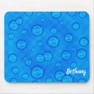 Jesus fish in blue bubbles mouse pad