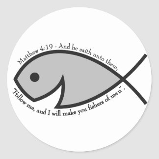 Jesus fish smiley BW Matthew 4 19.png Classic Round Sticker