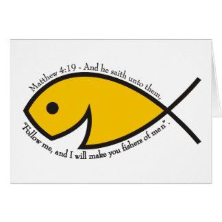 Jesus fish smiley Matthew 4 19 Card