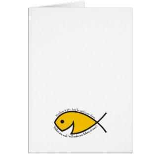 Jesus fish smiley Matthew 4 19 Greeting Card
