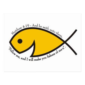 Jesus fish smiley Matthew 4 19 Postcards