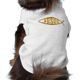 Jesus fish symbol christian gift doggie tshirt