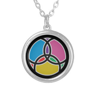 Jesus Fish Trinity Stained Glass Silver Plated Necklace