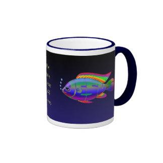 Jesus Fish with background Ringer Mug