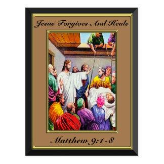 Jesus Forgives and Heals Matthew 9:1-8 brown Postcard