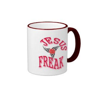 Jesus Freak With Rose Ringer Coffee Mug