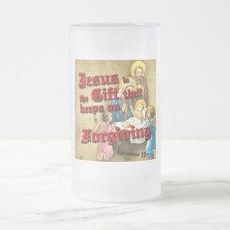 Jesus Gift Keeps Forgiving Frosted Glass Beer Mug