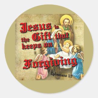 Jesus Gift Keeps Forgiving Round Sticker