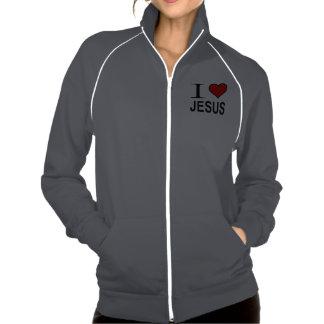 Jesus Gifts I Love Jesus Logo on fleece jacket