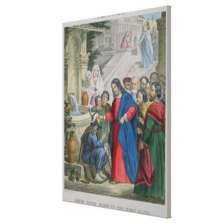 Jesus Gives Sight to One Born Blind, from a bible Canvas Print