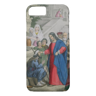 Jesus Gives Sight to One Born Blind, from a bible iPhone 7 Case