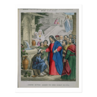 Jesus Gives Sight to One Born Blind, from a bible Postcard