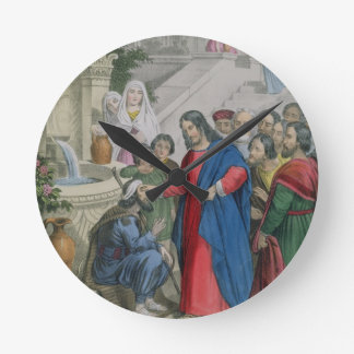 Jesus Gives Sight to One Born Blind, from a bible Round Clock