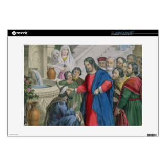 """Jesus Gives Sight to One Born Blind, from a bible 15"""" Laptop Decals"""