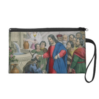 Jesus Gives Sight to One Born Blind, from a bible Wristlet Clutches
