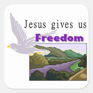 Jesus gives us freedom Christian design Square Sticker