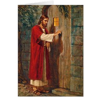 Jesús golpea en la puerta con verso completo tarjeta de felicitación