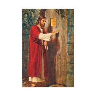 Jesús golpea en la puerta impresión en lona estirada