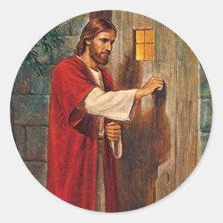 Jesús golpea en la puerta pegatina redonda