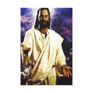 Jesús greating le impresion en lona