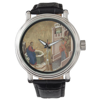 Jesús habla con la mujer en el pozo reloj