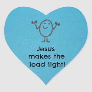 Jesús hace la luz de la carga pegatina en forma de corazón