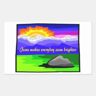 Jesús hace más brillante diario pegatina rectangular