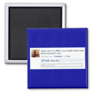 Jesús hace medios sociales imán cuadrado