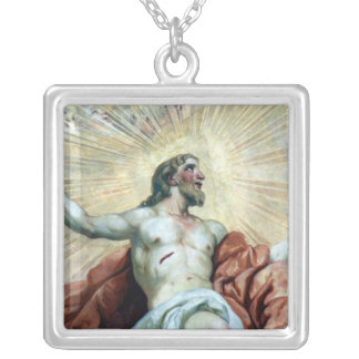 jesus halo silver plated necklace